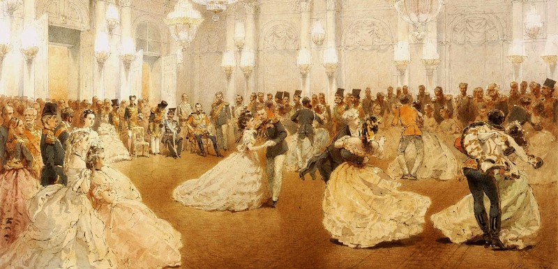 A-19th-century-painting-of-the-Ballroom-in-the-Winter-Palace-St.-Petersburg-Russia.-Tsar-Alexander-II-can-be-seen-sitting-in-the-background